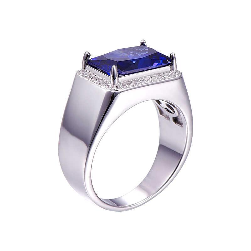 BONLAVIE エメラルドデザインチャーム高級 7ct ブルーサファイアスクエアリング固体 925 スターリングシルバーリングファインジュエリーパーティーアクセサリー