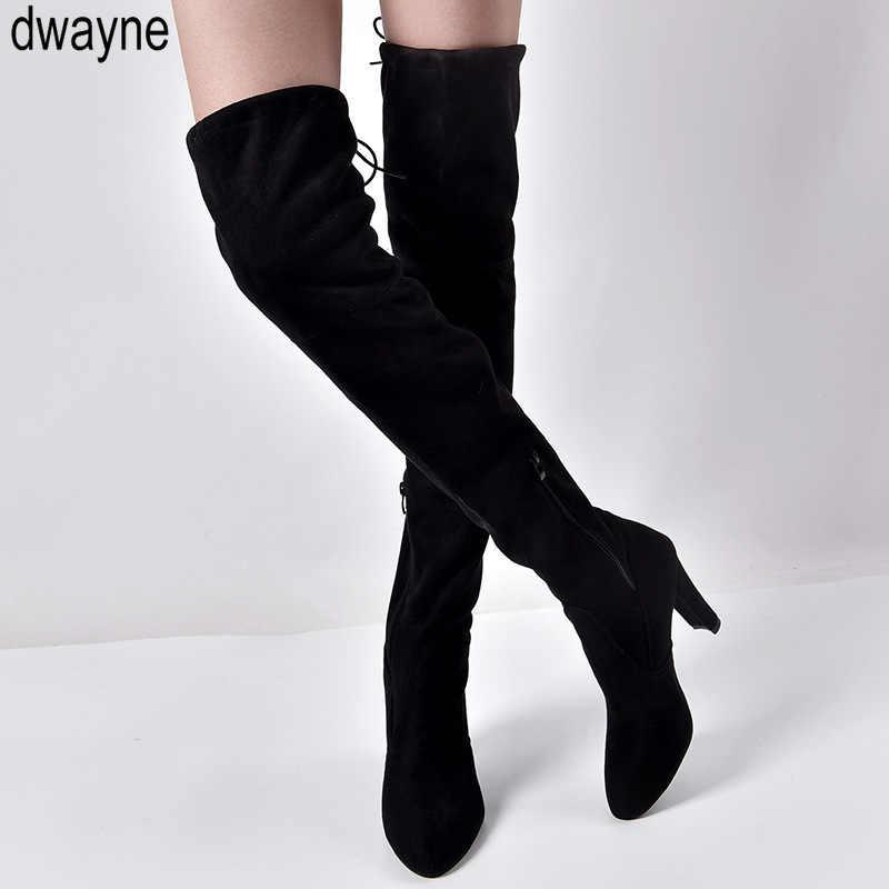 Plus ขนาดใหม่รองเท้าผู้หญิงรองเท้าสีดำเหนือเข่ารองเท้าบูทเซ็กซี่หญิงฤดูใบไม้ร่วงฤดูหนาว Lady ต้นขาสูงรองเท้า 2019 ใหม่