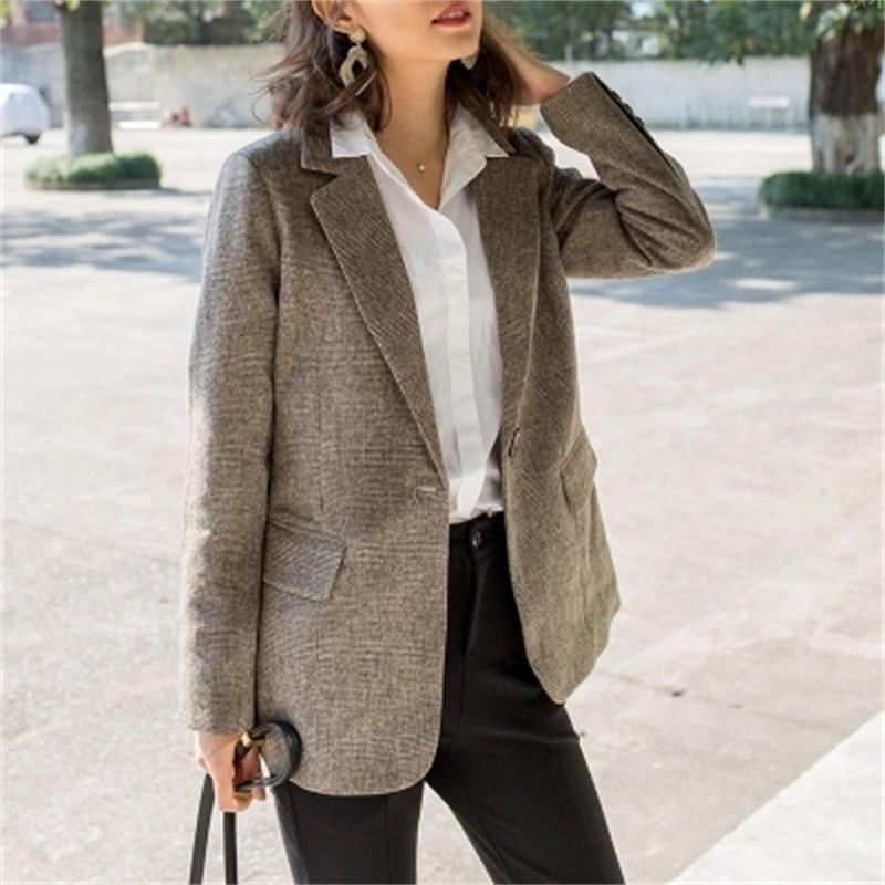 Plaid Blazers Women jacket New Autumn Women's Plaid Small Blazer Loose Retro Casual Plaid Suit women