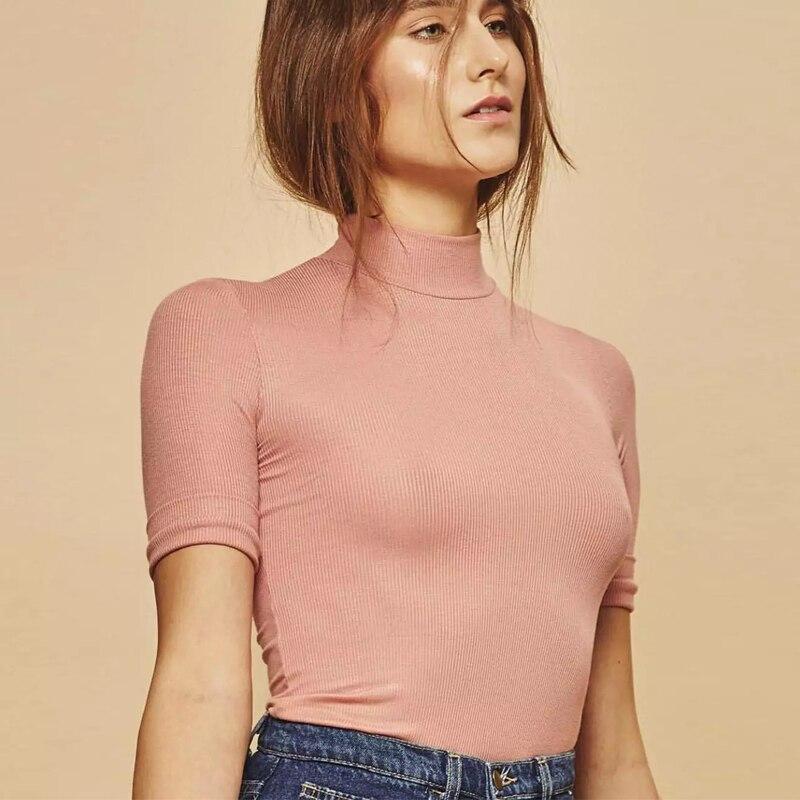 Brand Designer Slim Turtleneck Hlaf Sleeve T Shirt Women Sexy Striped T Shirts Tops