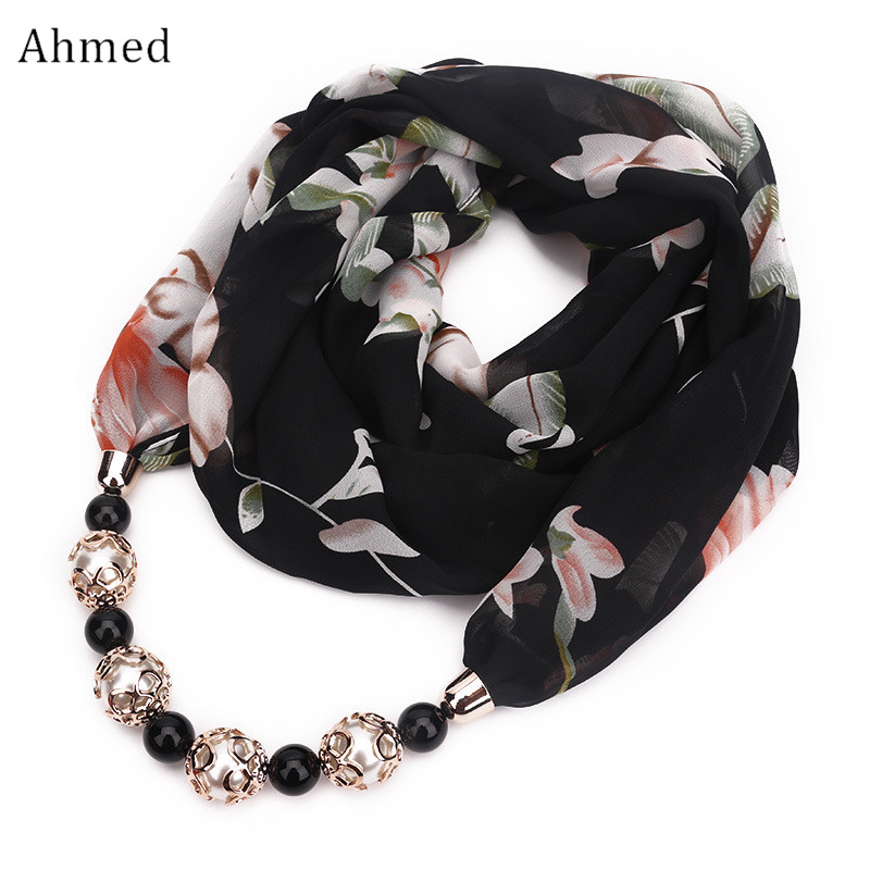 Ahmed New Fashion Head Scarves Printing Flower Pattern Chiffon Beads Scarf Necklace For Women Maxi Statement Necklaces Jewelry plastic handle compact eyelash curler