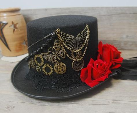 902bebd681a Vintage Stunning Unique Steampunk Top Hat Black Gears Lace Veil Rose Wings  Chain Hats Party Accessories