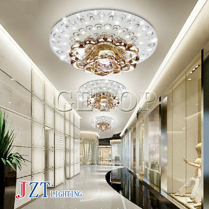 J best price creative LED Crystal ceiling lamp for Corridor living room Bedroom crystal Downlight LED spotlight modern style noosion modern led ceiling lamp for bedroom room black and white color with crystal plafon techo iluminacion lustre de plafond
