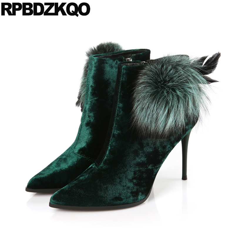 Booties Mink Winter Stiletto Shoes Big Brand Velvet Green High Heel 9 Ankle Pointed Toe Fur Women Boots 2017 Suede Size Short