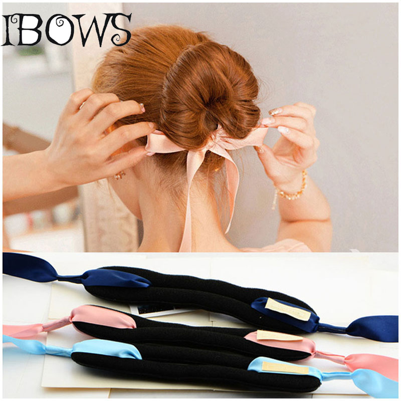 Fashion Magic Tools Foam Sponge Device Quick Messy Donut Bun Girl Women Hair Bows Band Accessories Silk Headband купить