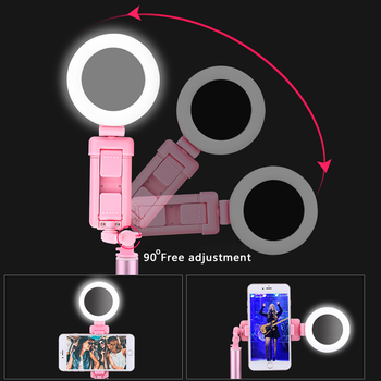 4 In 1 Erweiterbar Live Stativ Selfie Stick LED Ring Licht 1,7 M Stehen Mit Einbeinstativ Telefon Halterung Für IPhone X 8 Android SmartPhone