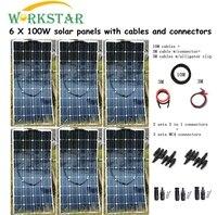 6 шт. моно 100 Вт модули солнечных панелей с MC4 разъемы и кабель Ho использовать решетки солнечных 600 мощность системы заводская цена