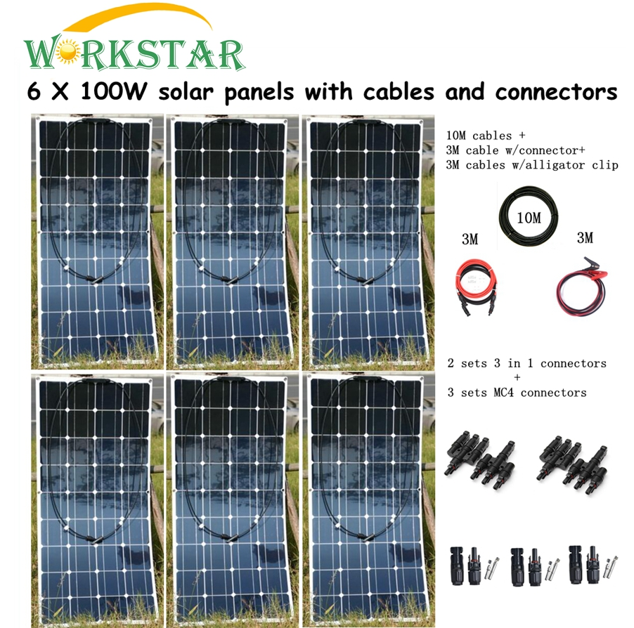 6pcs Mono 100w Solar Panel Modules with MC4 Connectors and Cable House Use Off Grid Solar 600w Power System Factory Price