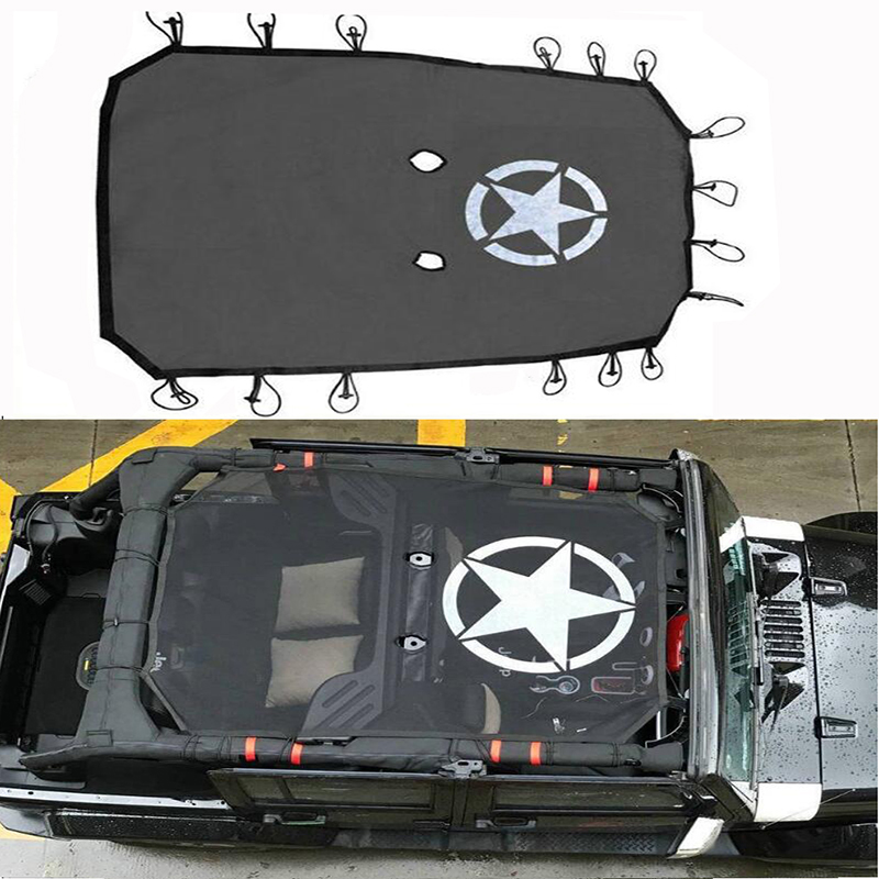 for 2007-2015 2016 2017 2018 Jeep Wrangler JK 4 Door Sun Shade Eclipse Top Cover Star Roof Mesh Provides UV Protection Cover
