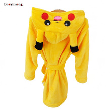 Кигуруми Единорог Пикачу для мальчиков и девочек пижамы-боди детские халаты фланелевые полотенца с капюшоном Халаты детские халаты