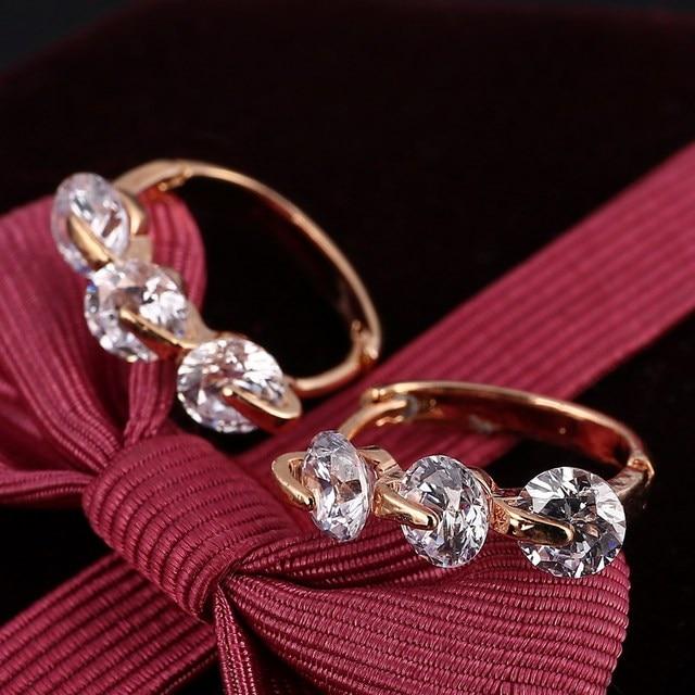 Top Sale AAA Zircon Stud Earrings for Women Ear Jewelry Brincos Luxury Gold Color Earring Fashion Wedding Accessories Earring