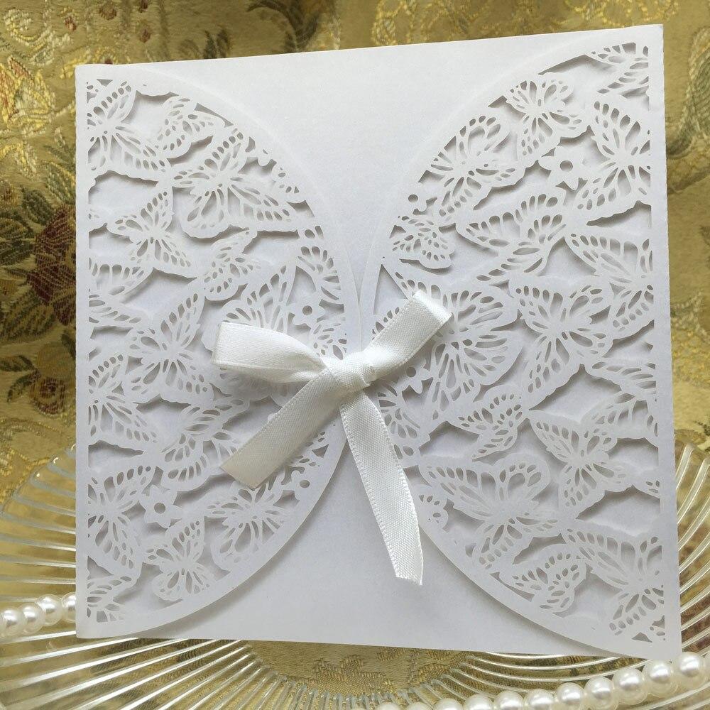 unids romntica tarjeta de invitacin de boda de papel iridiscente mariposa patrn tallado artesanas ahuecar