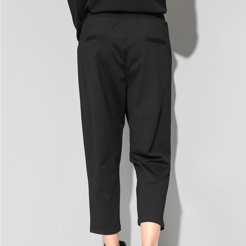 HTB1dhdLKuSSBuNjy0Flq6zBpVXan - [EAM] 2019 New Spring Black Loose High Waist Flat Elastic Waist Women Fashion Tide Wide Leg Ankle-length Pants OA870