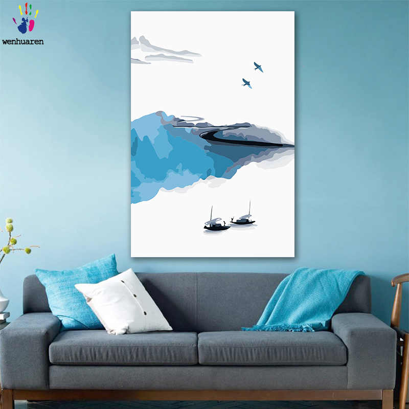 DIY colorings pictures by numbers with color Jiangnan scenery Jiangnan Water Township picture drawing painting by numbers framed