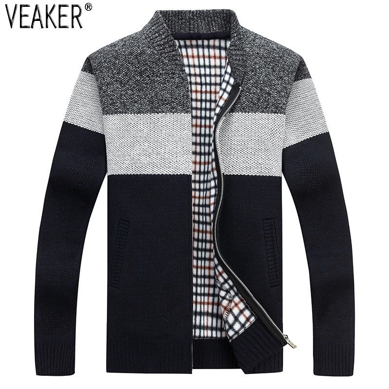 2019 Autumn New Men's Thick Sweatercoat Striped Stand Collar Zipper Sweater Coat Outerwear Winter Fleece Cashmere Liner Sweaters