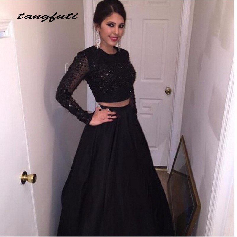 A Line Beaded Satin Long Sleeve Black Prom Dresses 2 Two Piece Prom ...