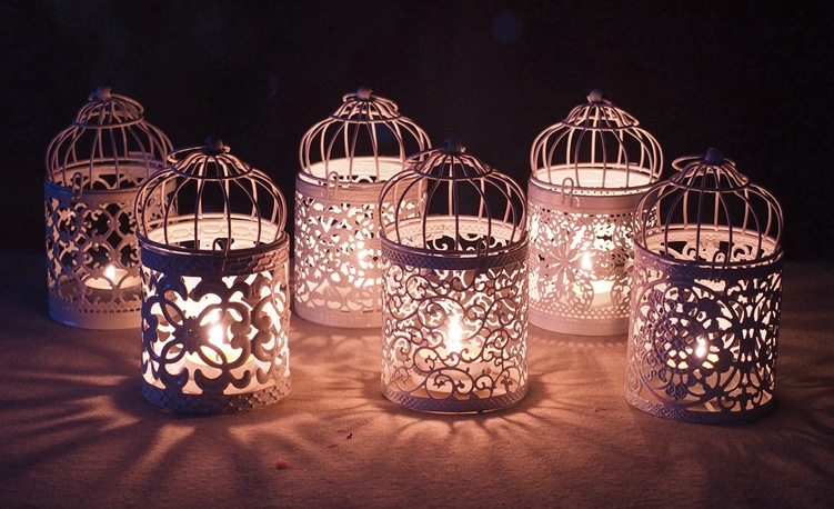 6pcs Metal Bird Cage Wedding Candle Holder White Color