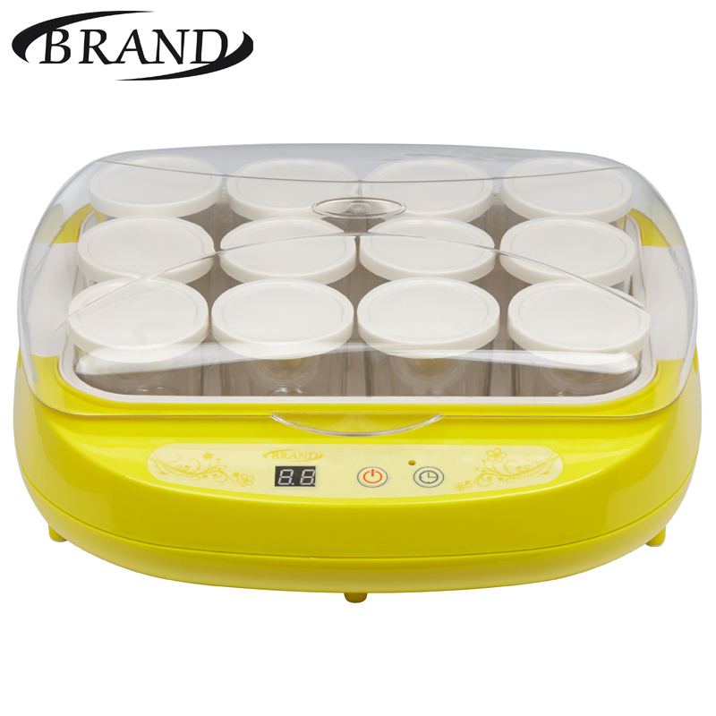 BRAND4002 Yellow Yogurt maker electric digital, glasses glass, automatic home cottage cheese thermoregulator 12 glass*200 ml uvex yellow zengguang noctovision windproof ride goggles protective glasses