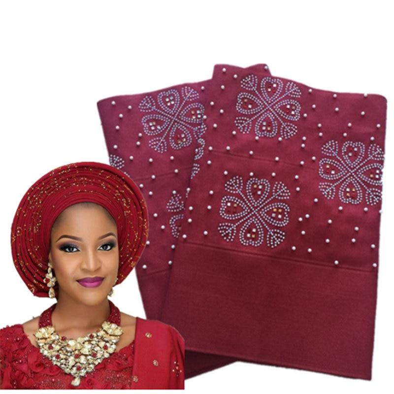 Aso Oke-serre-tête nigérian Gele   Avec perles, bonne qualité, tissu pour mariage AH30