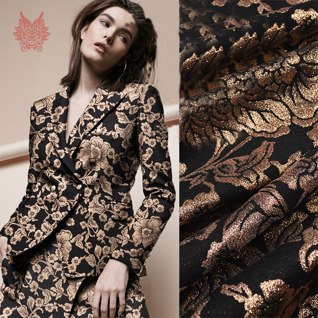 1e8354ee4de7 France style luxury black gold floral metallic positioning jacquard brocade  fabric apparel for dress coat tissu