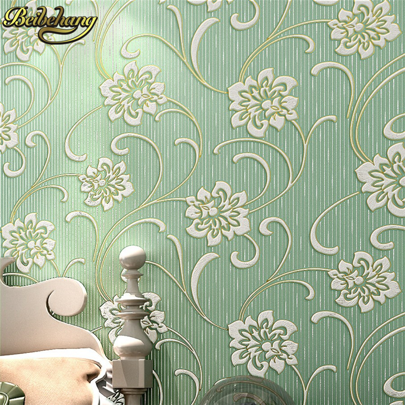 beibehang 3D wallpaper roll mural papel de parede flocking wall paper Damask Wall paper For Living room Bedroom Sofa TV Backdrop beibehang wall coverings mural wall paper roll bedroom sofa off white textured feature europe vintage glitter damask wallpaper