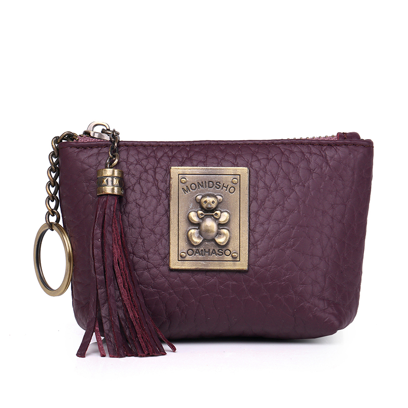 Women Mini Wallets Female Tassel Pendant Short Money Wallets Genuine Leather Lady Zipper Coin Purses Fashion Key Bag