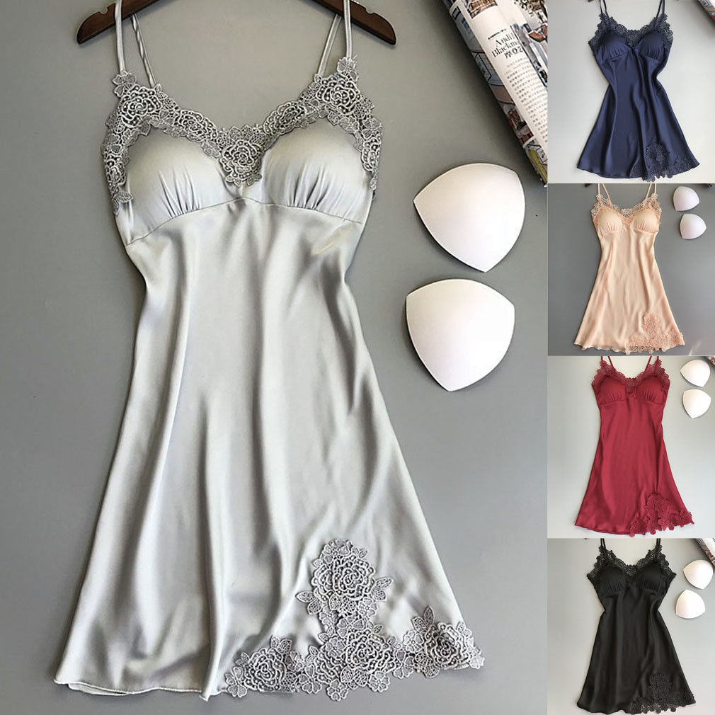 Fashion Women Sexy Lace Lingerie Soft Satin Sleep Dress Nightwear Babydoll Sleepwear Sling V-neck Nightdress Solid Color