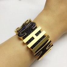 12 colores Cosplay hecho a mano nombre transparente inicial carta brazalete, joyería de lujo de la marca alfabeto pulseras con cuero de la PU