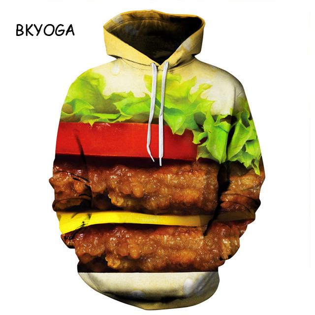 New Stylish Unisex 3d Sweatshirts Hamburger Food Painted Autumn Hoodies Drop Ship