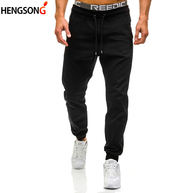 2018 Men Fashion Trousers Men Drawstring Pants Hip Hop Harem Pants Mens Joggers Solid Pants Sweatpants Plus Size M-3XL