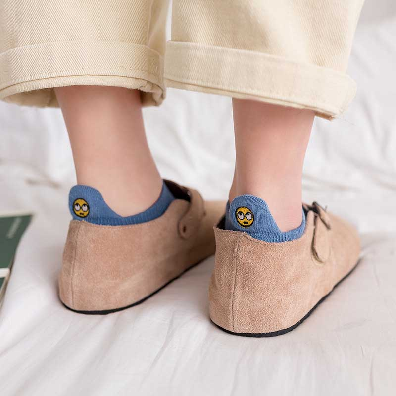 Leisure Small Ears Cartoon Funny Smiley Face Short   Sock   Shallow Mouth Breathable Comfortable Cotton Women Short   Sock   Hosiery