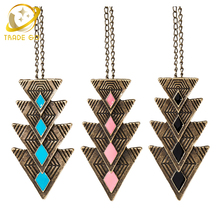 vintage triangle pendant neklace women fashion jewelry long sweater chain statement necklace maxi collier