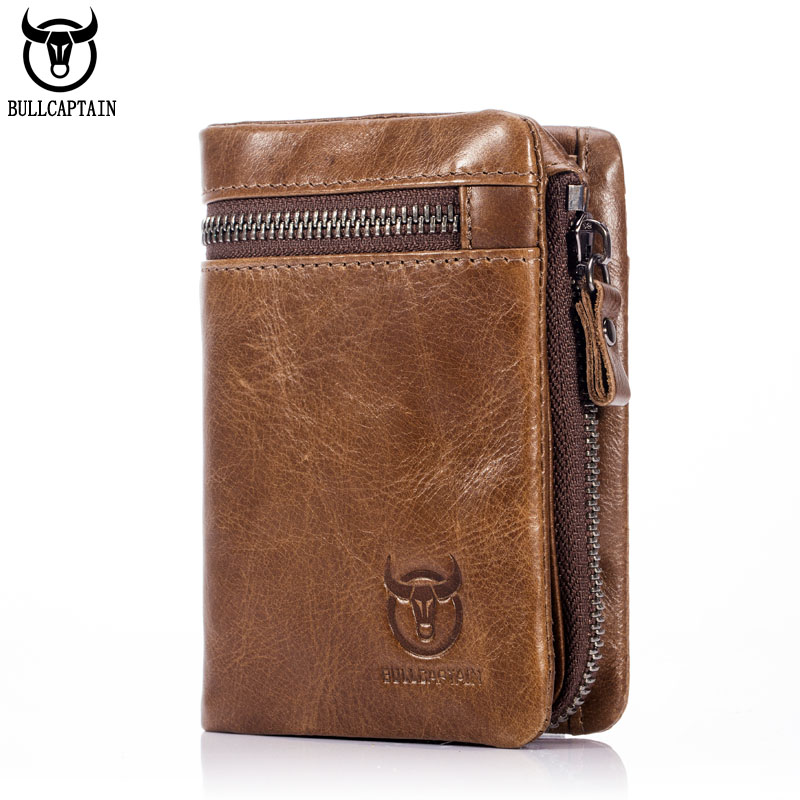 BULL CAPTAIN 2017 CASUAL Short Trifold Hasp Zipper Wallet MEN Coffee Cow Leather Wallet Coin Pocket Money Purse Bag Card Holder new fashion men bifold wallet business leather card holder money purse cash bag coin pocket for men high quality short bag