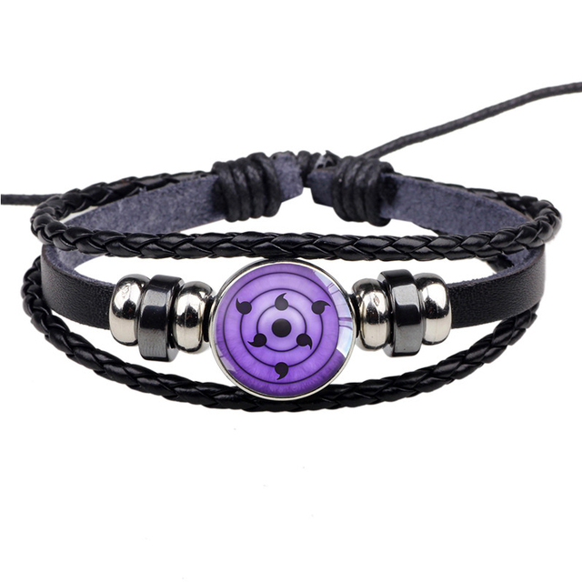 Anime Naruto Sharingan Eye Leather Bracelet