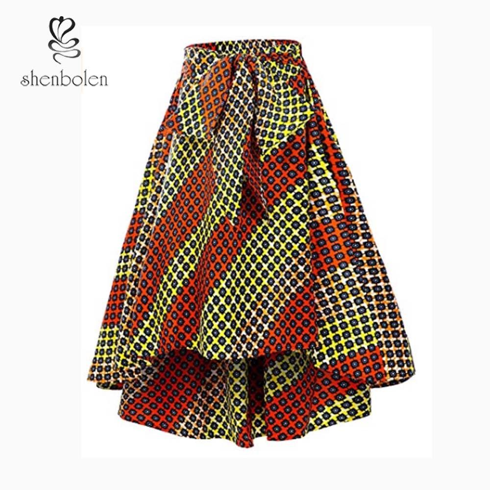 Shenbolen Africa Clothing Dashiki Skirt Women Traditional Clothing Flower Print Casual Skirt