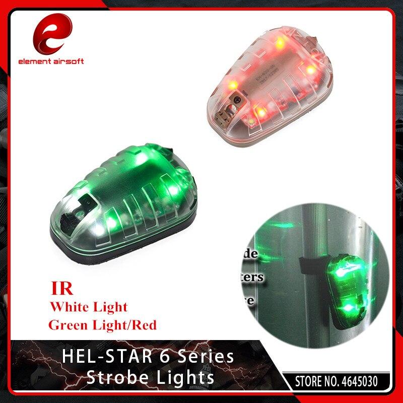 Element Airsoft HEL-STAR 6 сигнальных зеленых и ИК-или красных и ИК-ламп с волшебной лентой водонепроницаемые лампы для выживания на шлеме 8*5,5*3 см
