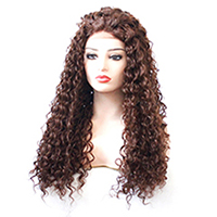 Brown Color Kinky Curly Glue-less Synthetic Lace Front Wig for Black Women High Temeperature Fiber 33# Auburn Curly Wig