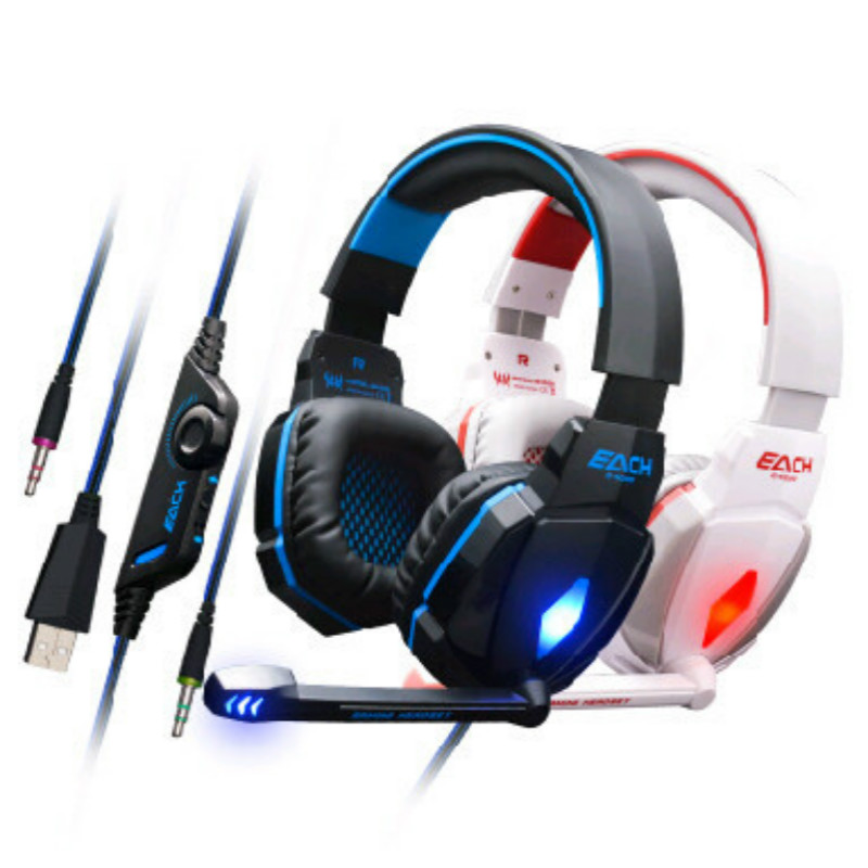 KOTION EACH G4000 3.5mm Over-ear Gameing Headphone 7.1 Surround Fone De Ouvido Game Headset Earphone Microphone for PC Gamer each g8200 gaming headphone 7 1 surround usb vibration game headset headband earphone with mic led light for fone pc gamer ps4
