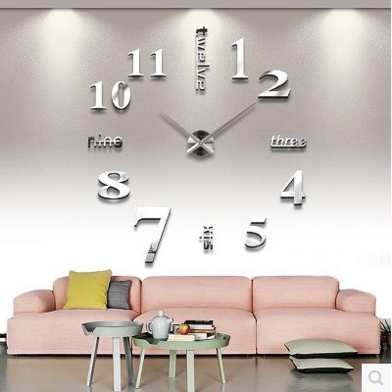 Mute Modern Wall Clock Design Wanduhr Wandklok Relojes Pared Self Adhesive  Home Decor Pared Relogio Parede Watch Acrylic In Wall Clocks From Home U0026  Garden ...