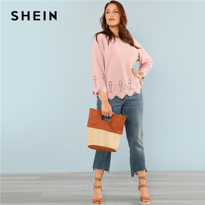 SHEIN Laser Cut Solid Top 2018 Summer Round Neck Three Quarter Length Flounce Sleeve Plus Size Blouse Women Elegant Pink Top 4