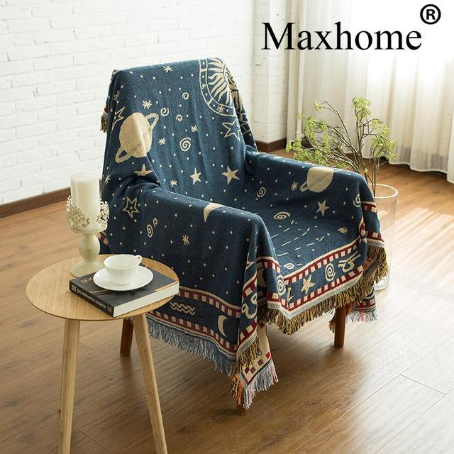 Retro Double Sided Carpet Soft Sofa Blankets Throws Rugs Cover Table Knitted Blanket