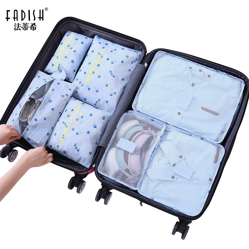 Travel Bag 6Pcs//Set Men And Women Nylon Luggage Travel Bags Packing Double Zipper Clothe Sorting Organizer Waterproof Polyester Cubes