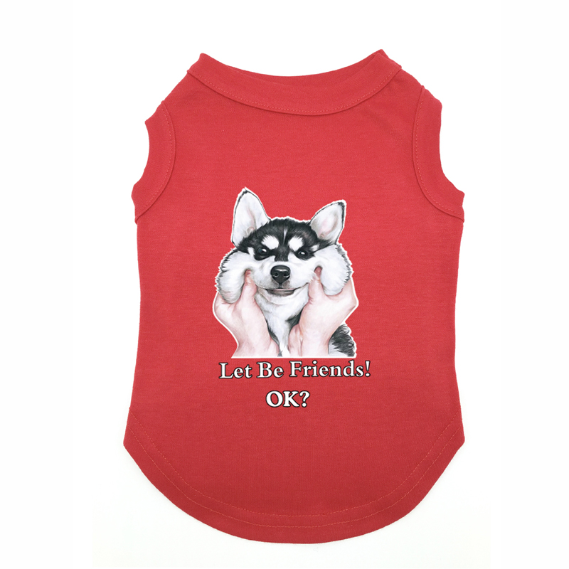 Husky clothing Printed T-Shirts Pet Puppy Clothes Shirts Tee Polyester Clothes Tank Tees Top for All Seasons Hot sale