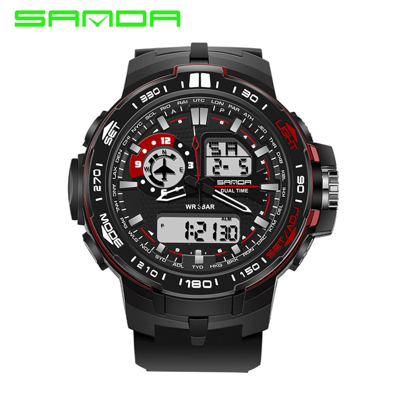 Men Sports Watches Dual Display Analog Digital LED Electronic Quartz Wristwatches 30M Waterproof Swimming Military Watch #4M18#F