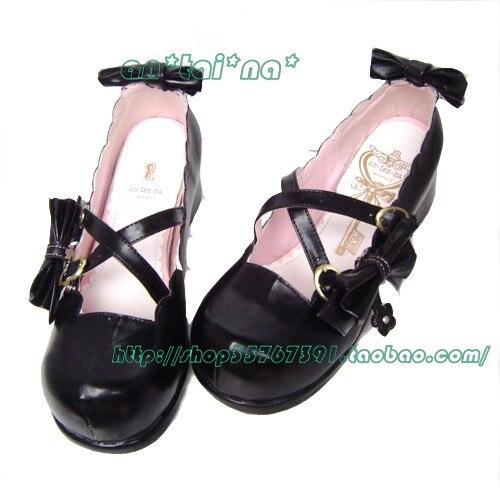 Princess sweet lolita gothic lolita shoes custom  disassembly bow lolita princess shoes 9042  high platform princess sweet lolita gothic lolita shoes custom harajuku platform zipper style 9826 black