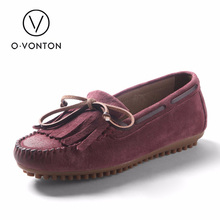 Q.vonton FLats women shoes 2017 NEW 100% Genuine Leather s Handmade Flats Casual Loafers Lady Driving Shoes Soft Moccasins