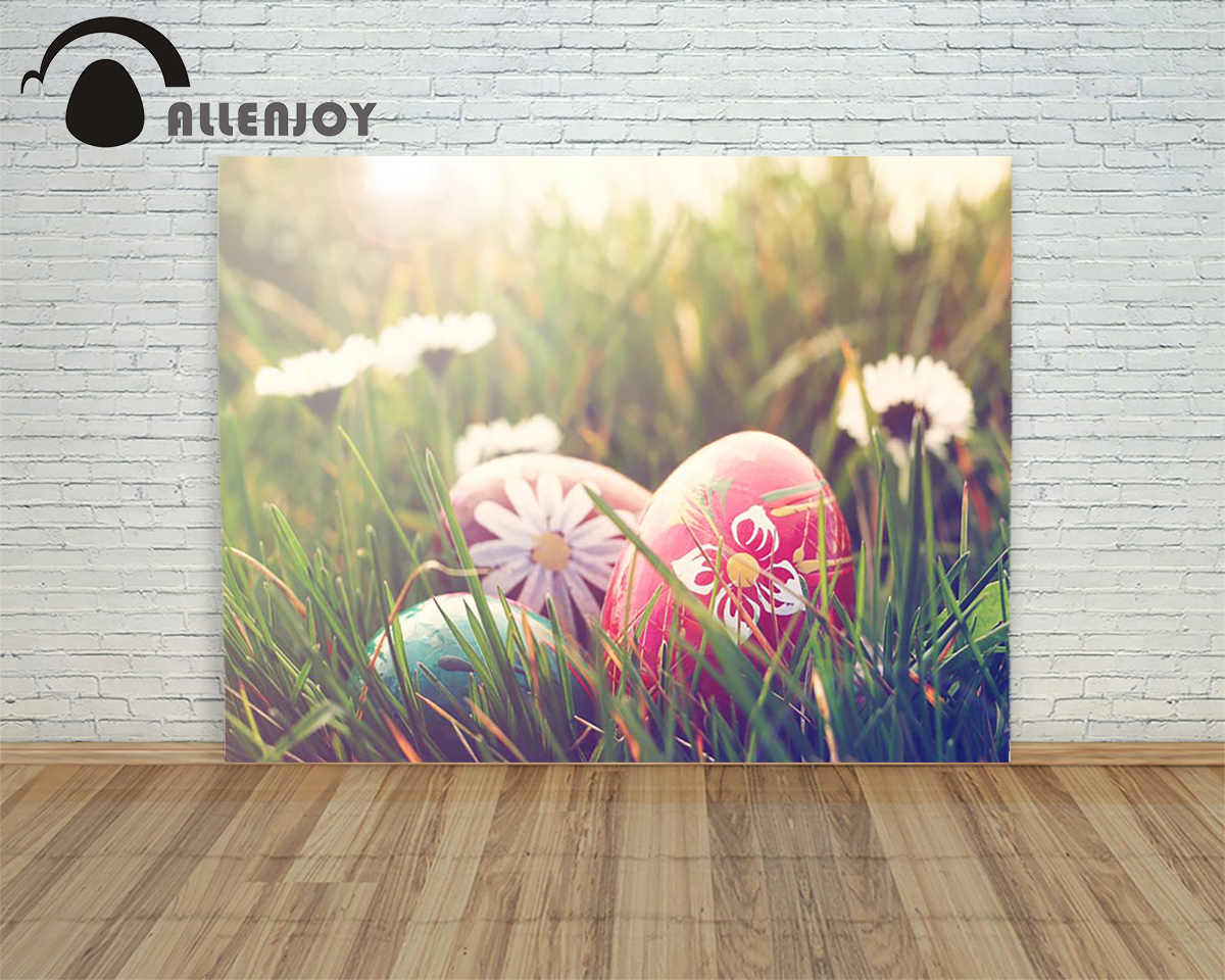 Allenjoy backdrops Easter eggs True painted Eggs Daisy Sunshine Grass children photography background New for photo shoots