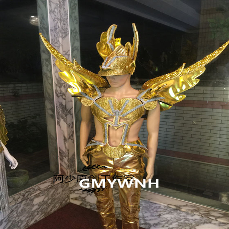 S9D Men model stage wears gold mirror wings dj led costumes stage suit models performance armor outfit christmas show clothe bar
