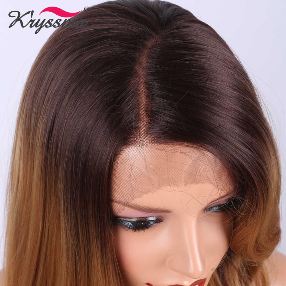 Светло-коричневые синтетические парики на шнурках спереди для черных женщин, два тона омбре с темными корнями, глубокий пробор, L часть, вечерние парики k'rysma
