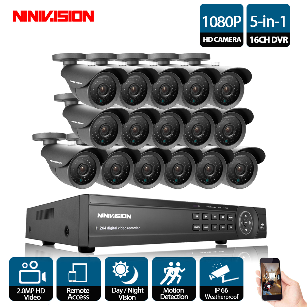 NINIVISION 16CH CCTV System 1080P AHD CCTV DVR System HD 16PCS CCTV Cameras 2.0MP Megapixels Enhanced IR Security Camera NO HDD